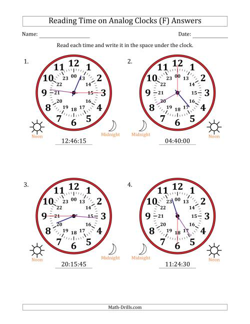 The Reading Time on 24 Hour Analog Clocks in 15 Second Intervals (Large Clocks) (F) Math Worksheet Page 2