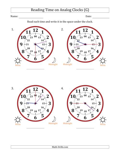 The Reading Time on 24 Hour Analog Clocks in 15 Second Intervals (Large Clocks) (G) Math Worksheet
