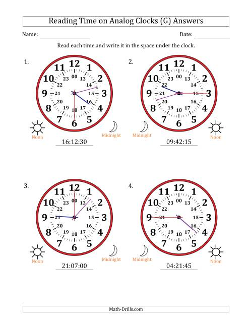 The Reading Time on 24 Hour Analog Clocks in 15 Second Intervals (Large Clocks) (G) Math Worksheet Page 2