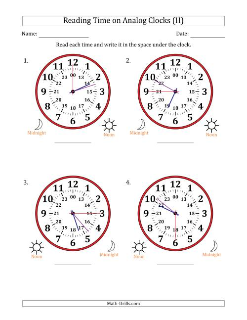 The Reading Time on 24 Hour Analog Clocks in 15 Second Intervals (Large Clocks) (H) Math Worksheet