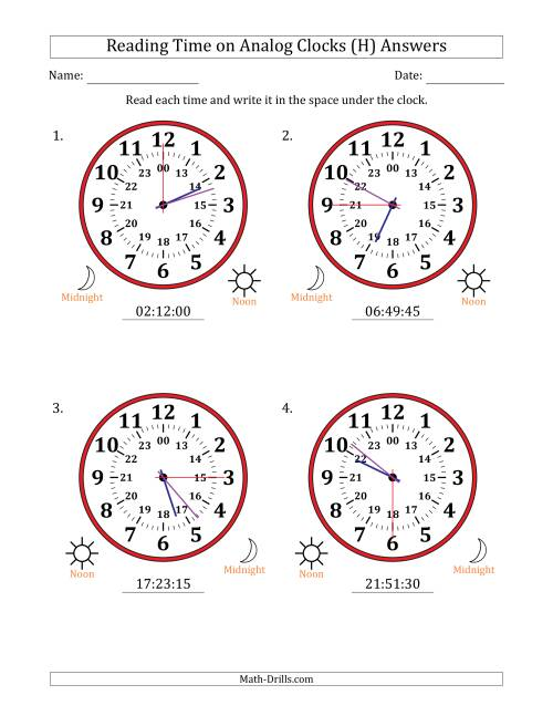 The Reading Time on 24 Hour Analog Clocks in 15 Second Intervals (Large Clocks) (H) Math Worksheet Page 2