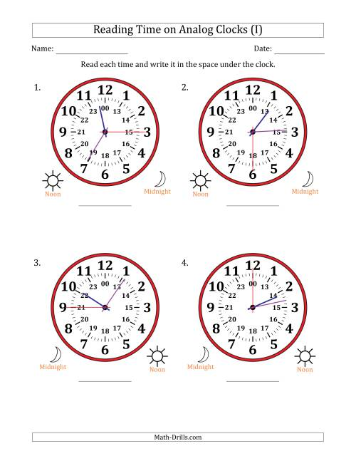 The Reading Time on 24 Hour Analog Clocks in 15 Second Intervals (Large Clocks) (I) Math Worksheet
