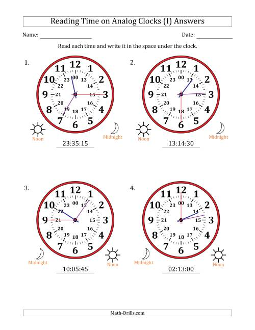 The Reading Time on 24 Hour Analog Clocks in 15 Second Intervals (Large Clocks) (I) Math Worksheet Page 2
