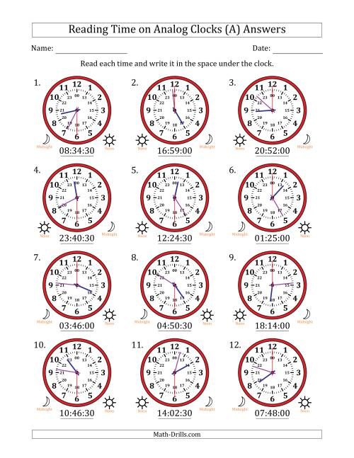 The Reading Time on 24 Hour Analog Clocks in 30 Second Intervals (A) Math Worksheet Page 2