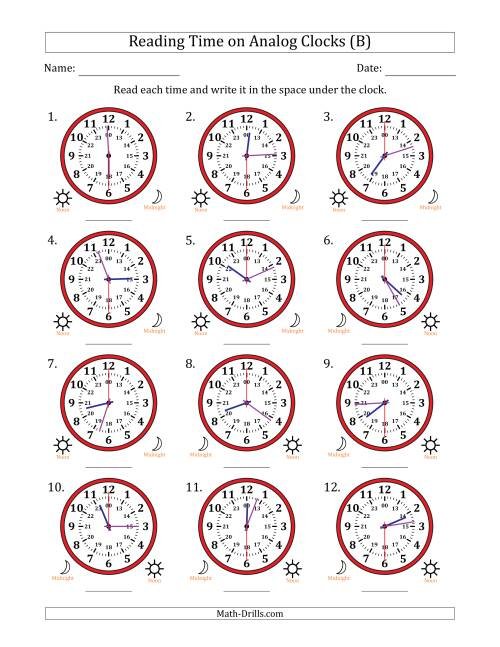 The Reading 24 Hour Time on Analog Clocks in 30 Second Intervals (12 Clocks) (B) Math Worksheet