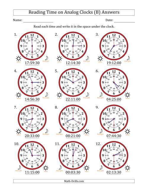The Reading 24 Hour Time on Analog Clocks in 30 Second Intervals (12 Clocks) (B) Math Worksheet Page 2