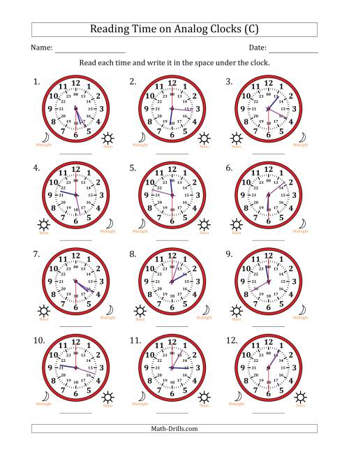 The Reading Time on 24 Hour Analog Clocks in 30 Second Intervals (C) Math Worksheet