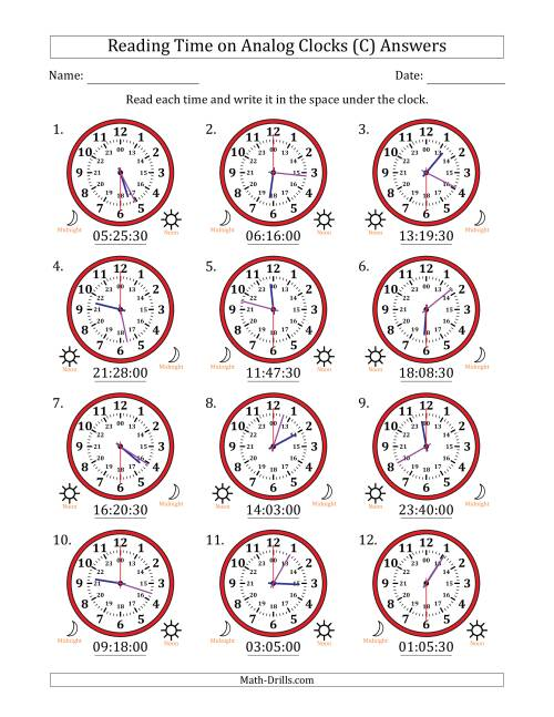 The Reading Time on 24 Hour Analog Clocks in 30 Second Intervals (C) Math Worksheet Page 2