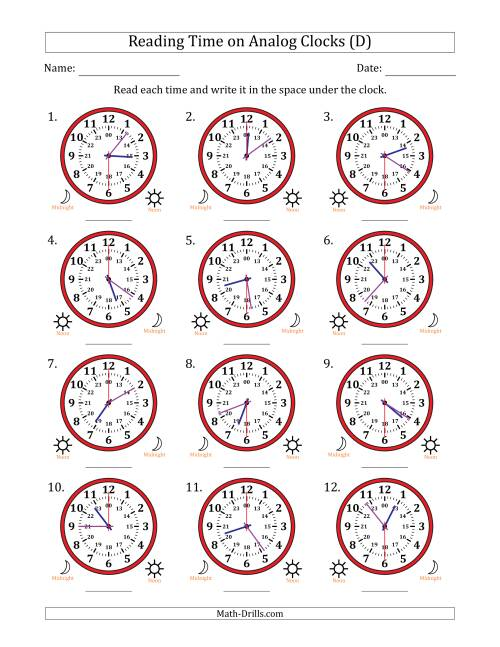 The Reading Time on 24 Hour Analog Clocks in 30 Second Intervals (D) Math Worksheet
