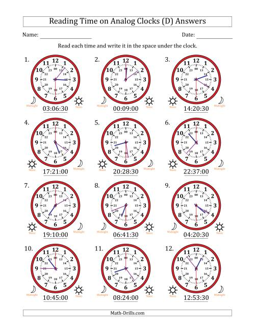 The Reading Time on 24 Hour Analog Clocks in 30 Second Intervals (D) Math Worksheet Page 2