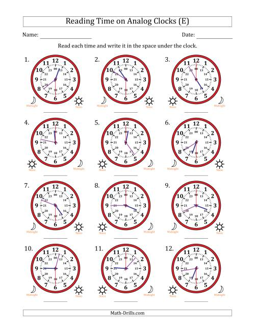 The Reading Time on 24 Hour Analog Clocks in 30 Second Intervals (E) Math Worksheet