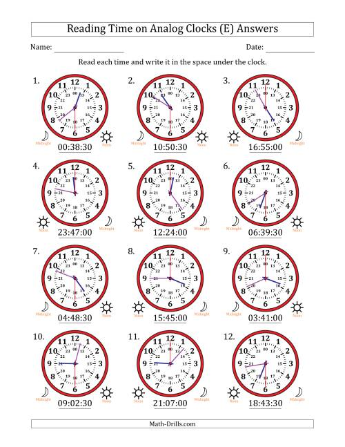 The Reading Time on 24 Hour Analog Clocks in 30 Second Intervals (E) Math Worksheet Page 2