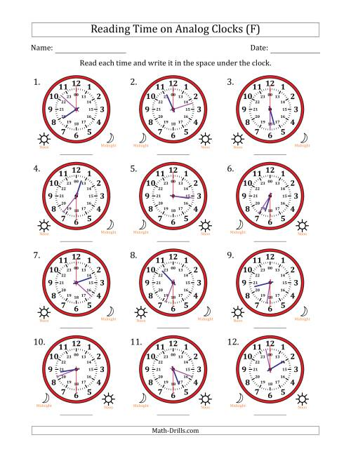 The Reading Time on 24 Hour Analog Clocks in 30 Second Intervals (F) Math Worksheet