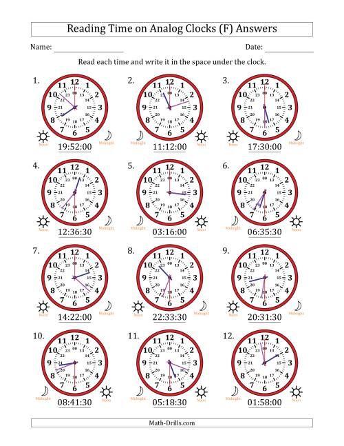 The Reading Time on 24 Hour Analog Clocks in 30 Second Intervals (F) Math Worksheet Page 2