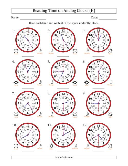 The Reading 24 Hour Time on Analog Clocks in 30 Second Intervals (12 Clocks) (H) Math Worksheet