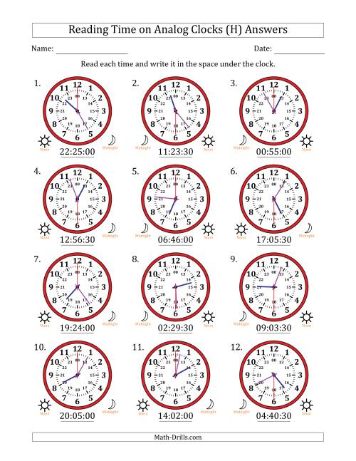 The Reading 24 Hour Time on Analog Clocks in 30 Second Intervals (12 Clocks) (H) Math Worksheet Page 2