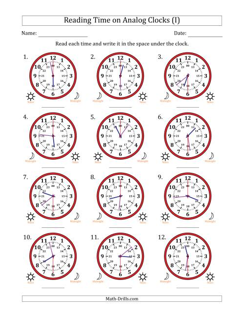 The Reading Time on 24 Hour Analog Clocks in 30 Second Intervals (I) Math Worksheet