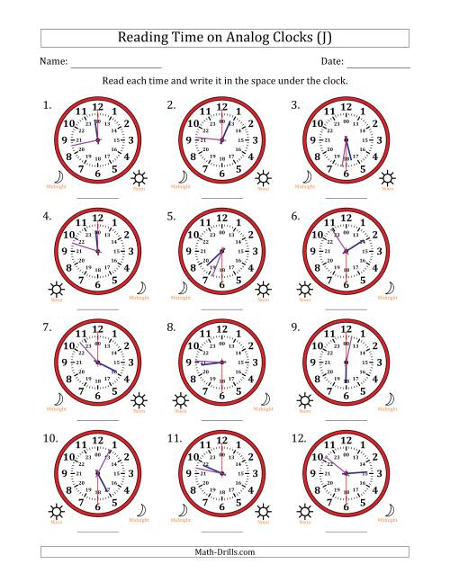 The Reading Time on 24 Hour Analog Clocks in 30 Second Intervals (J) Math Worksheet