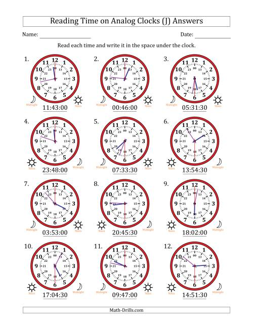 The Reading Time on 24 Hour Analog Clocks in 30 Second Intervals (J) Math Worksheet Page 2