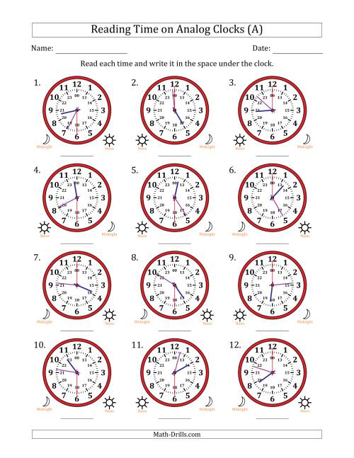 The Reading Time on 24 Hour Analog Clocks in 30 Second Intervals (All) Math Worksheet