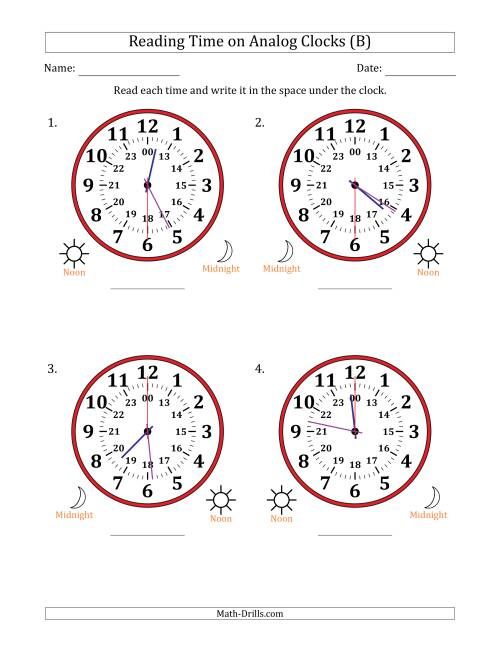 The Reading Time on 24 Hour Analog Clocks in 30 Second Intervals (Large Clocks) (B) Math Worksheet