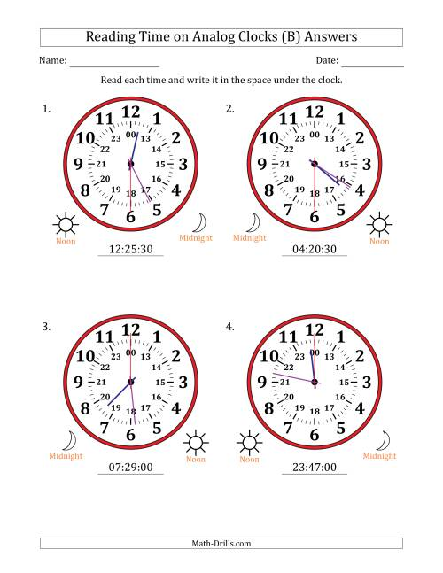 The Reading Time on 24 Hour Analog Clocks in 30 Second Intervals (Large Clocks) (B) Math Worksheet Page 2