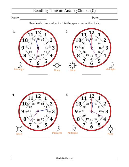 The Reading Time on 24 Hour Analog Clocks in 30 Second Intervals (Large Clocks) (C) Math Worksheet