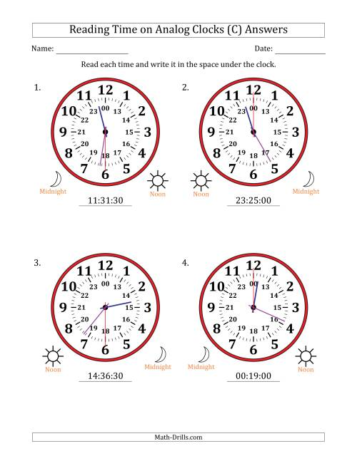 The Reading Time on 24 Hour Analog Clocks in 30 Second Intervals (Large Clocks) (C) Math Worksheet Page 2