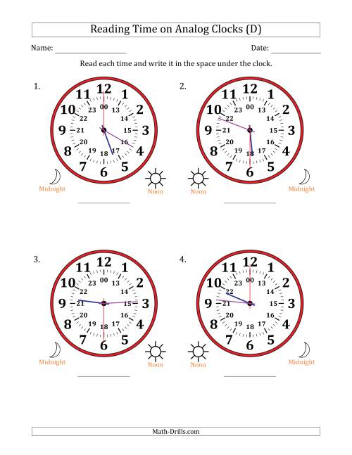 The Reading Time on 24 Hour Analog Clocks in 30 Second Intervals (Large Clocks) (D) Math Worksheet