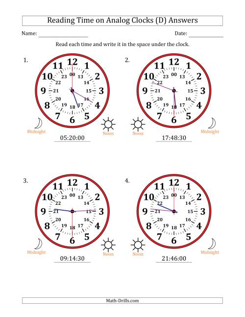 The Reading Time on 24 Hour Analog Clocks in 30 Second Intervals (Large Clocks) (D) Math Worksheet Page 2