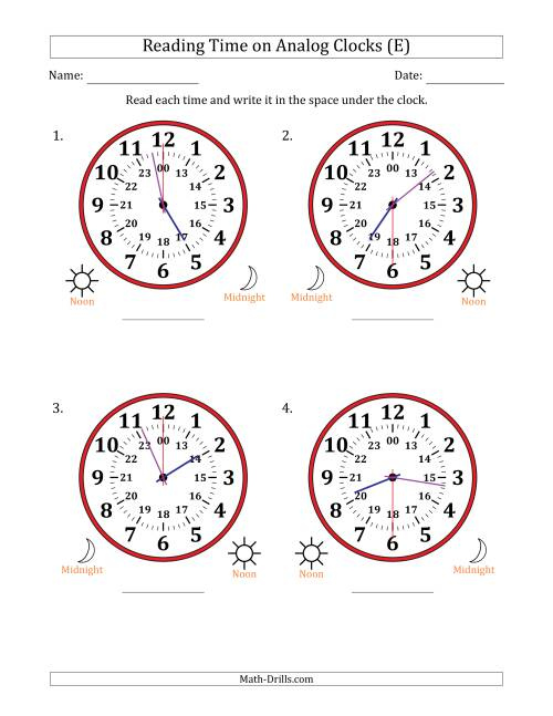 The Reading Time on 24 Hour Analog Clocks in 30 Second Intervals (Large Clocks) (E) Math Worksheet