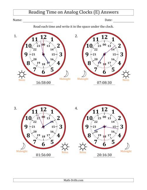 The Reading Time on 24 Hour Analog Clocks in 30 Second Intervals (Large Clocks) (E) Math Worksheet Page 2