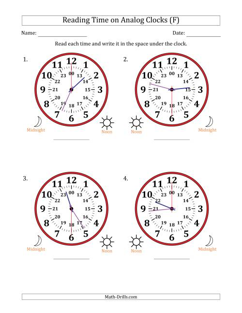 The Reading Time on 24 Hour Analog Clocks in 30 Second Intervals (Large Clocks) (F) Math Worksheet