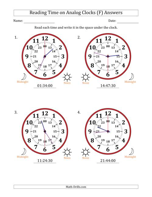 The Reading Time on 24 Hour Analog Clocks in 30 Second Intervals (Large Clocks) (F) Math Worksheet Page 2