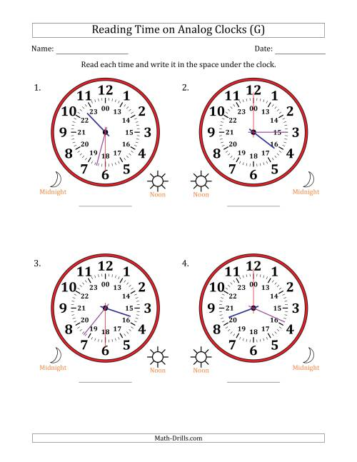 The Reading 24 Hour Time on Analog Clocks in 30 Second Intervals (4 Large Clocks) (G) Math Worksheet