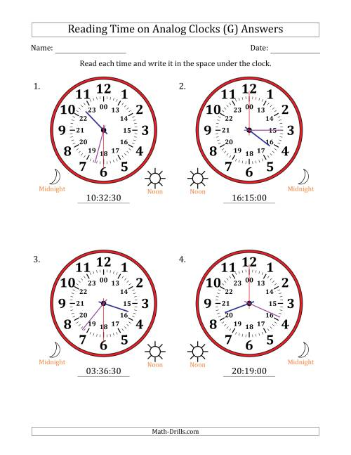 The Reading 24 Hour Time on Analog Clocks in 30 Second Intervals (4 Large Clocks) (G) Math Worksheet Page 2