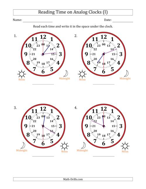 The Reading Time on 24 Hour Analog Clocks in 30 Second Intervals (Large Clocks) (I) Math Worksheet