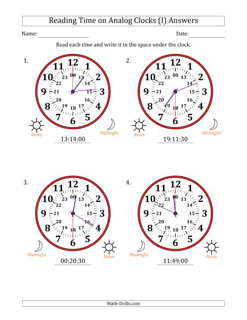 The Reading Time on 24 Hour Analog Clocks in 30 Second Intervals (Large Clocks) (I) Math Worksheet Page 2