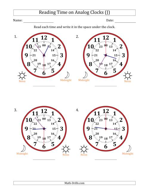 The Reading Time on 24 Hour Analog Clocks in 30 Second Intervals (Large Clocks) (J) Math Worksheet