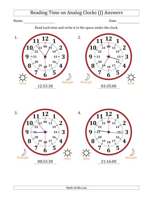 The Reading Time on 24 Hour Analog Clocks in 30 Second Intervals (Large Clocks) (J) Math Worksheet Page 2