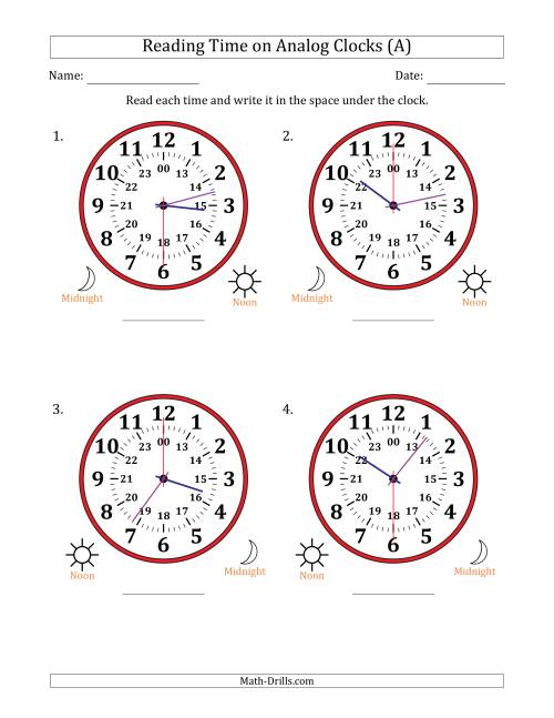 The Reading Time on 24 Hour Analog Clocks in 30 Second Intervals (Large Clocks) (All) Math Worksheet