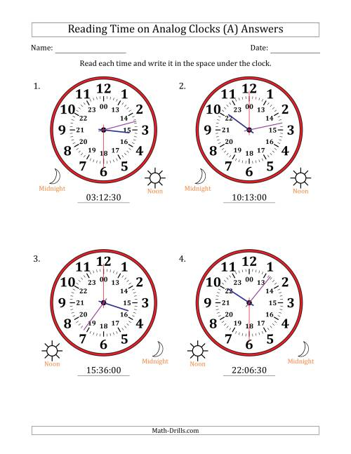The Reading Time on 24 Hour Analog Clocks in 30 Second Intervals (Large Clocks) (All) Math Worksheet Page 2