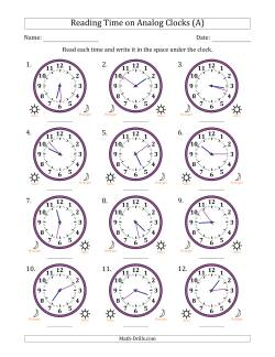 Reading 12 Hour Time on Analog Clocks in 1 Minute Intervals (12 Clocks)