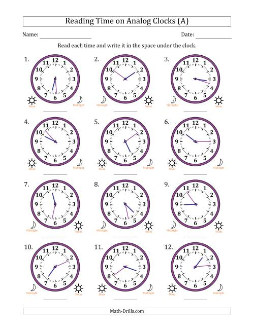 The Reading Time on 12 Hour Analog Clocks in 1 Minute Intervals (A) Math Worksheet