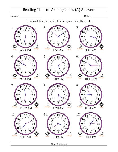 The Reading Time on 12 Hour Analog Clocks in 1 Minute Intervals (A) Math Worksheet Page 2