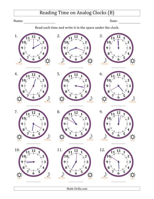 Time on an Analog Clock in 1 Minute Intervals B Time Worksheet