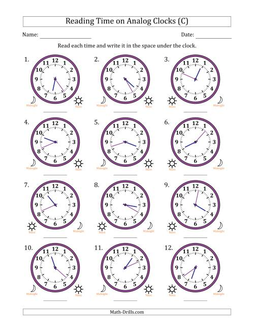 The Reading Time on 12 Hour Analog Clocks in 1 Minute Intervals (C) Math Worksheet