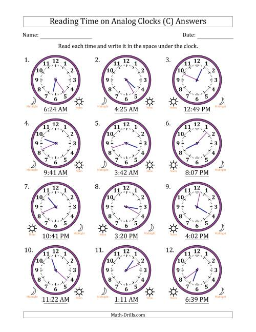 The Reading Time on 12 Hour Analog Clocks in 1 Minute Intervals (C) Math Worksheet Page 2