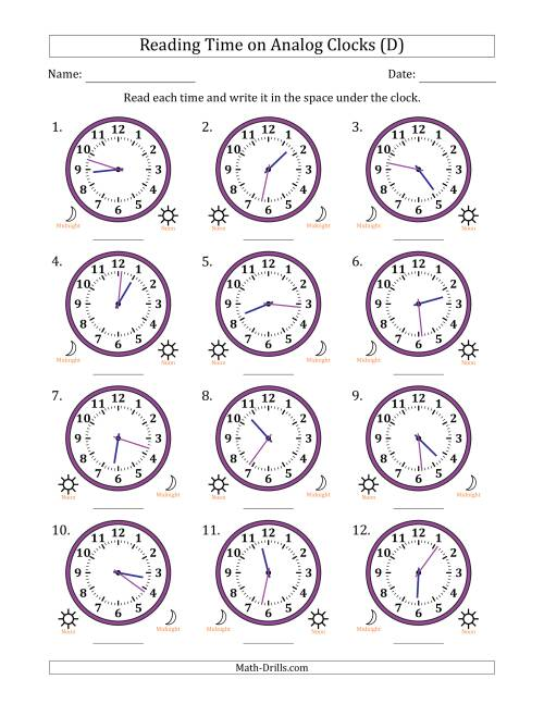 The Reading Time on 12 Hour Analog Clocks in 1 Minute Intervals (D) Math Worksheet