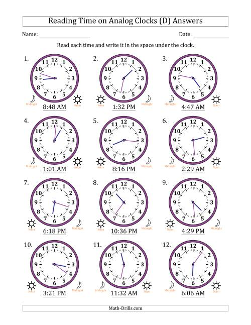 The Reading Time on 12 Hour Analog Clocks in 1 Minute Intervals (D) Math Worksheet Page 2